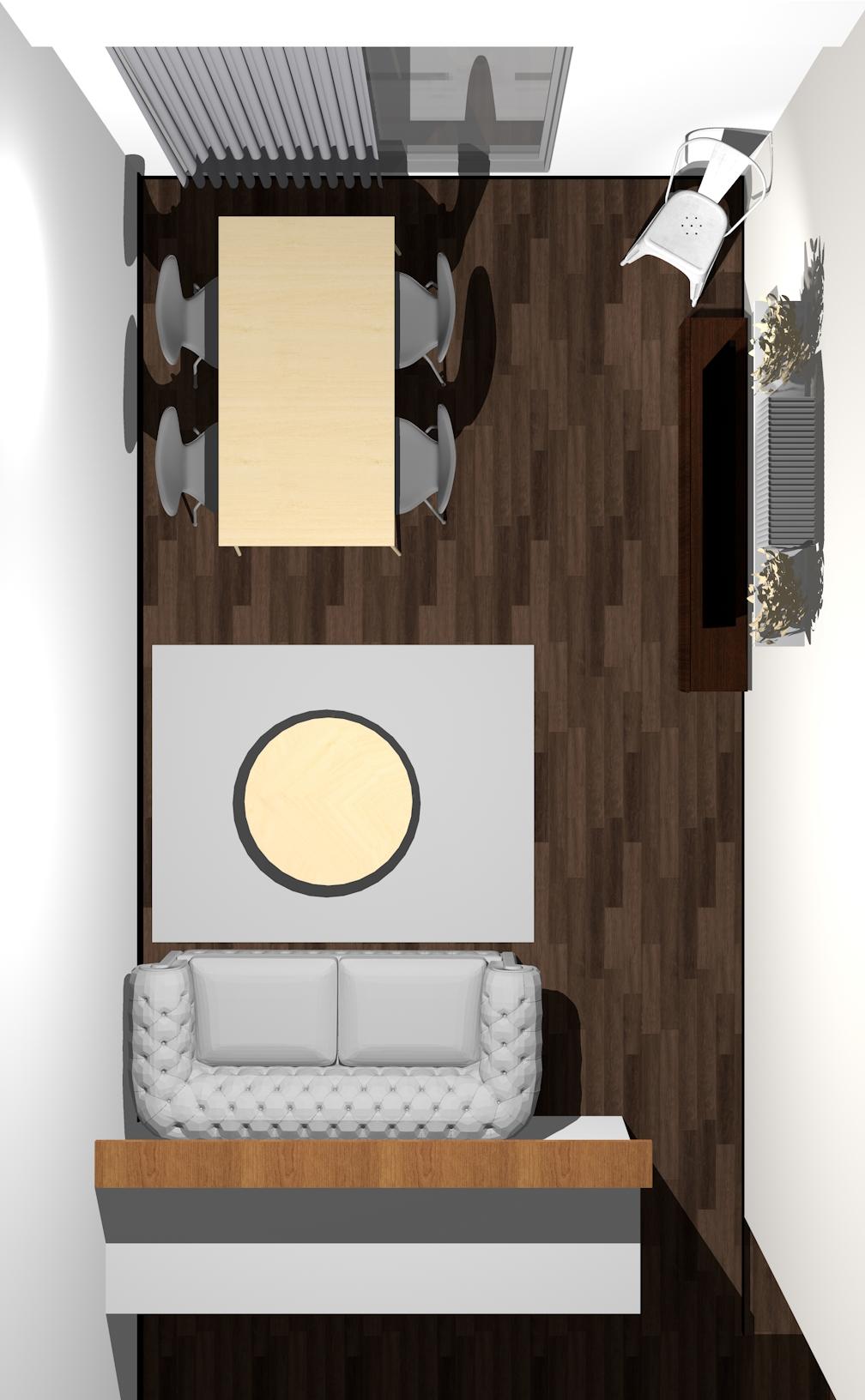 キッチン(対面カウンター)の前がリビング用ソファ」で「窓の前がダイニング」のレイアウト