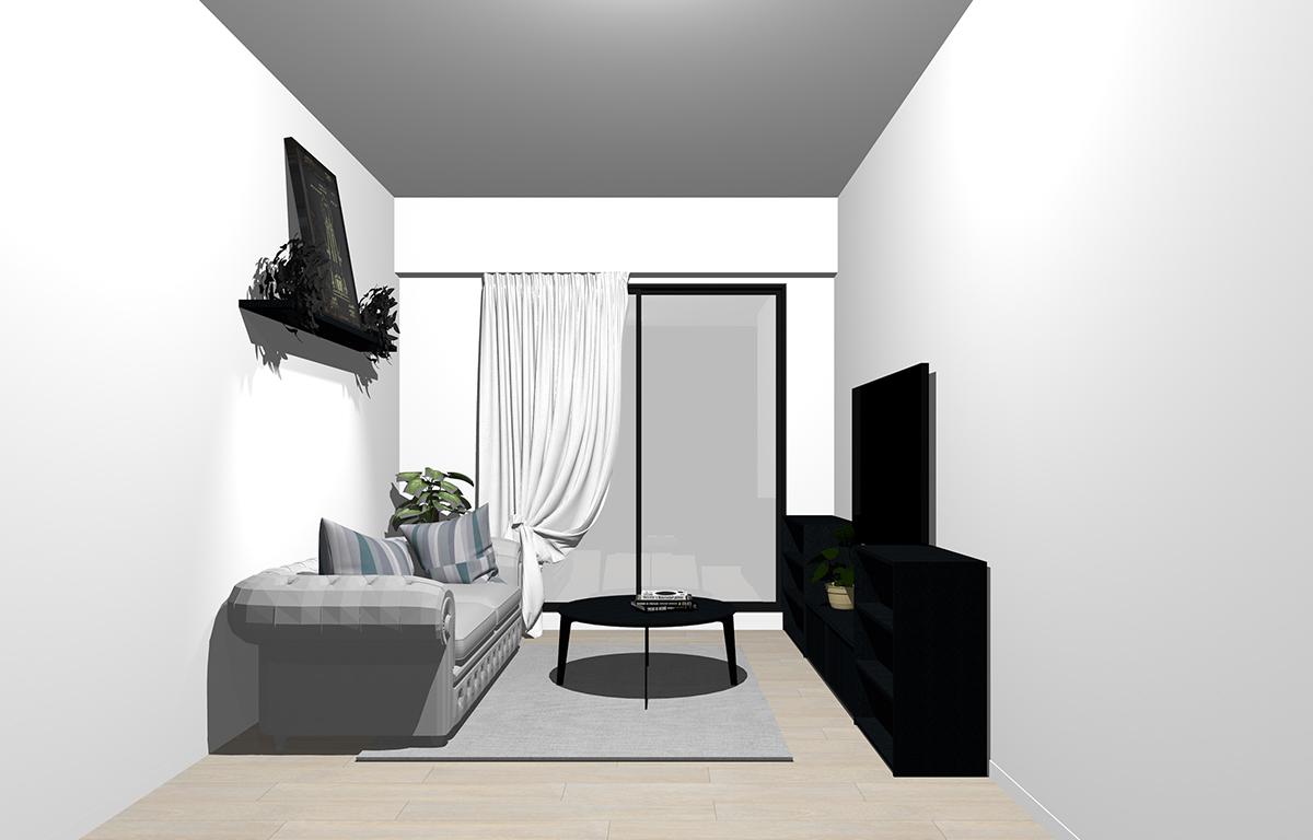 グレーの床×ブラックの家具