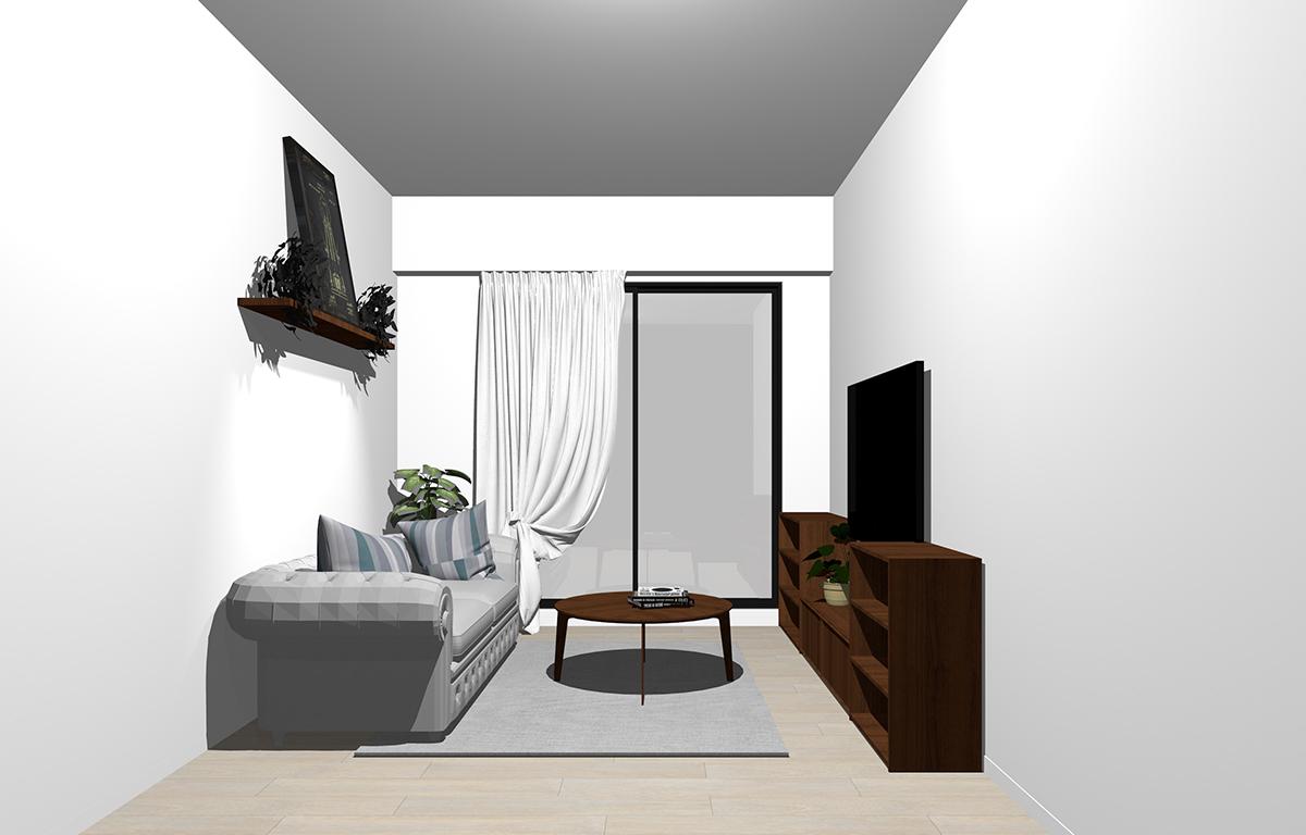 グレーの床×暗い茶色の家具