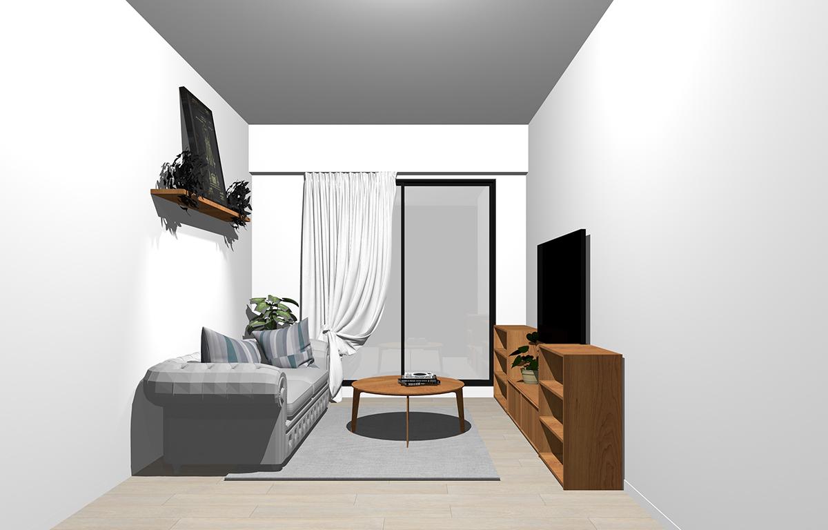 グレーの床×茶色の家具