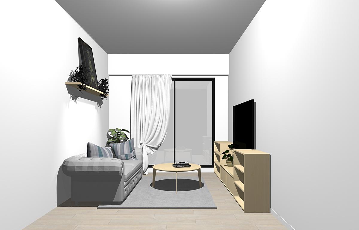 グレーの床×明るい茶色の家具