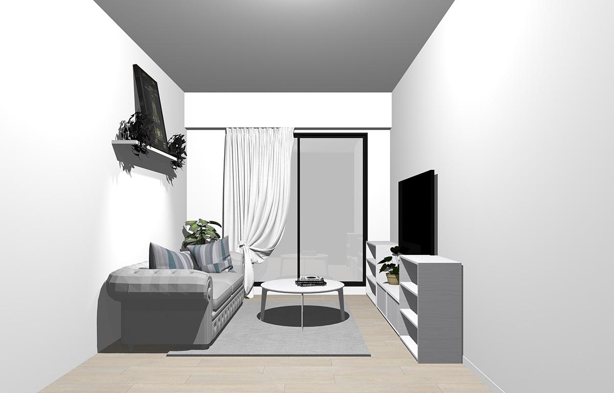 グレーの床×ホワイトの家具