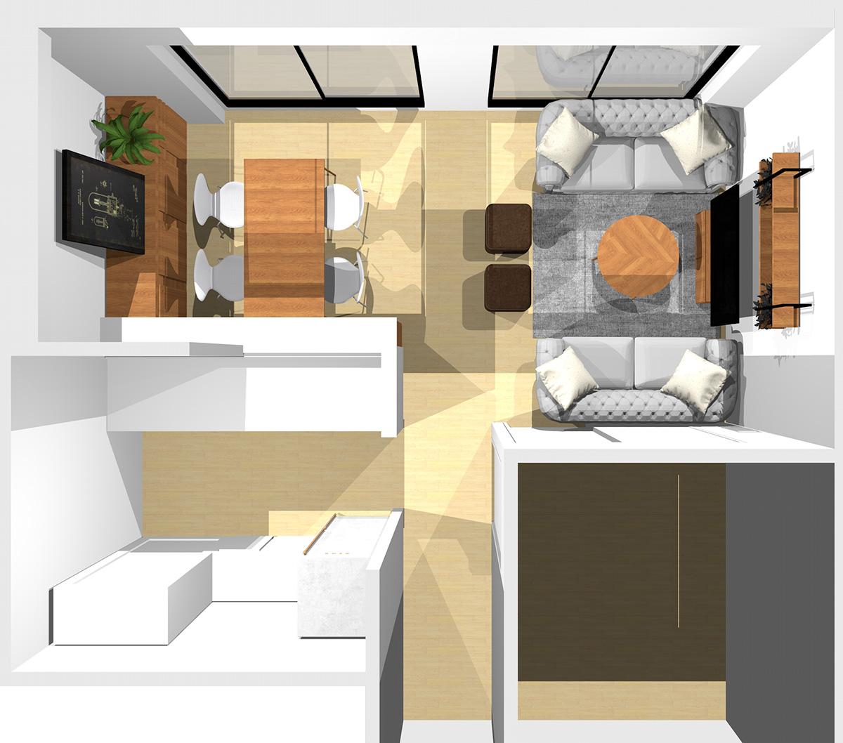 窓と和室との入口を背にソファを1台ずつ置いた応接スタイルの横長リビング