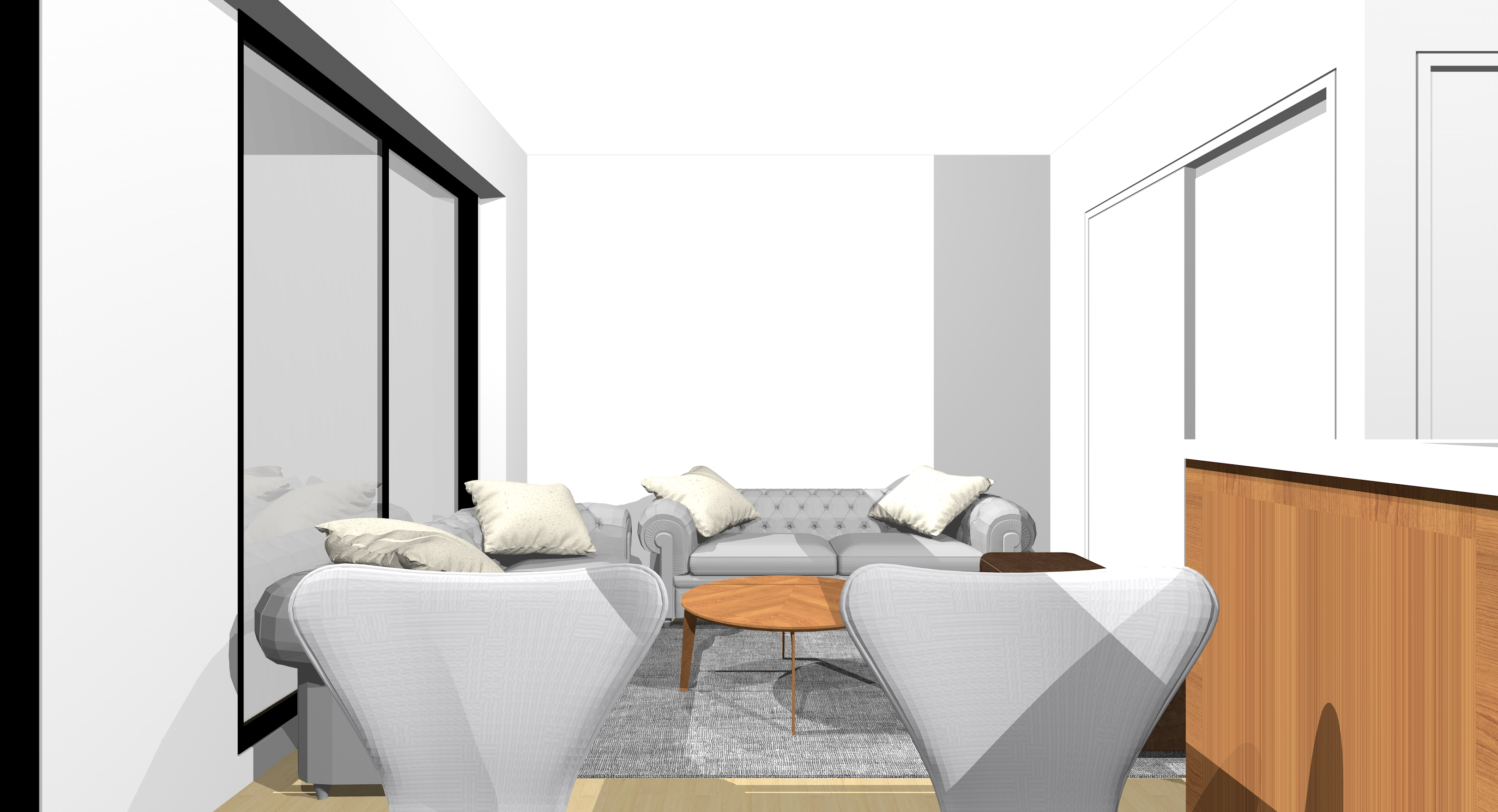窓と短い壁(①)に1台ずつソファを置いた横長リビングをダイニングから見た図
