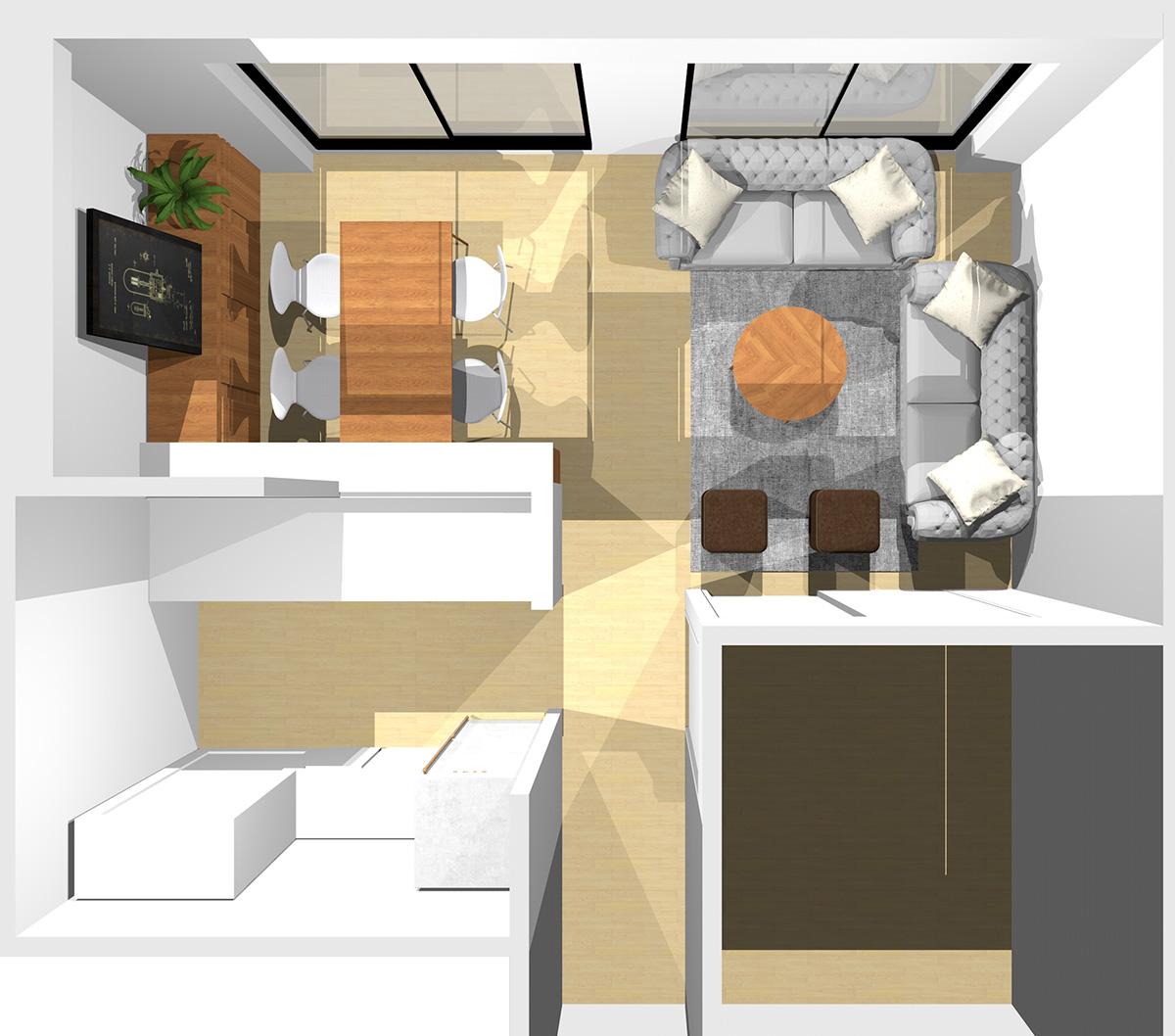 窓と短い壁(①)に1台ずつソファを置いた横長リビング