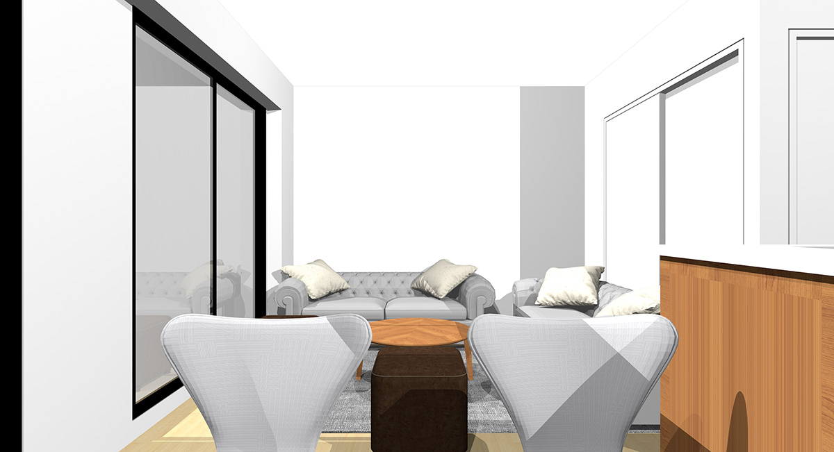 短い壁(①)と和室との入口(扉を閉めっぱなしで使う場合)の前に1台ずつソファを置いた横長リビングをダイニングから見た図