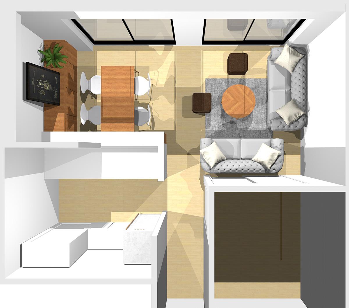 短い壁(①)と和室との入口(扉を閉めっぱなしで使う場合)の前に1台ずつソファを置いた横長リビング
