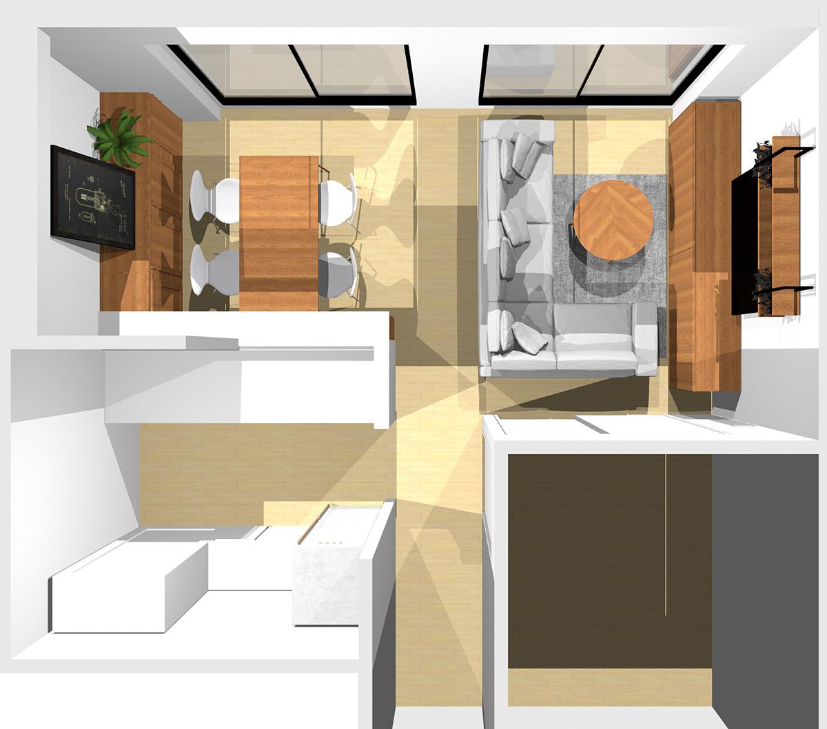 ①②③に家具、通路にコーナーソファを置いた横長リビング