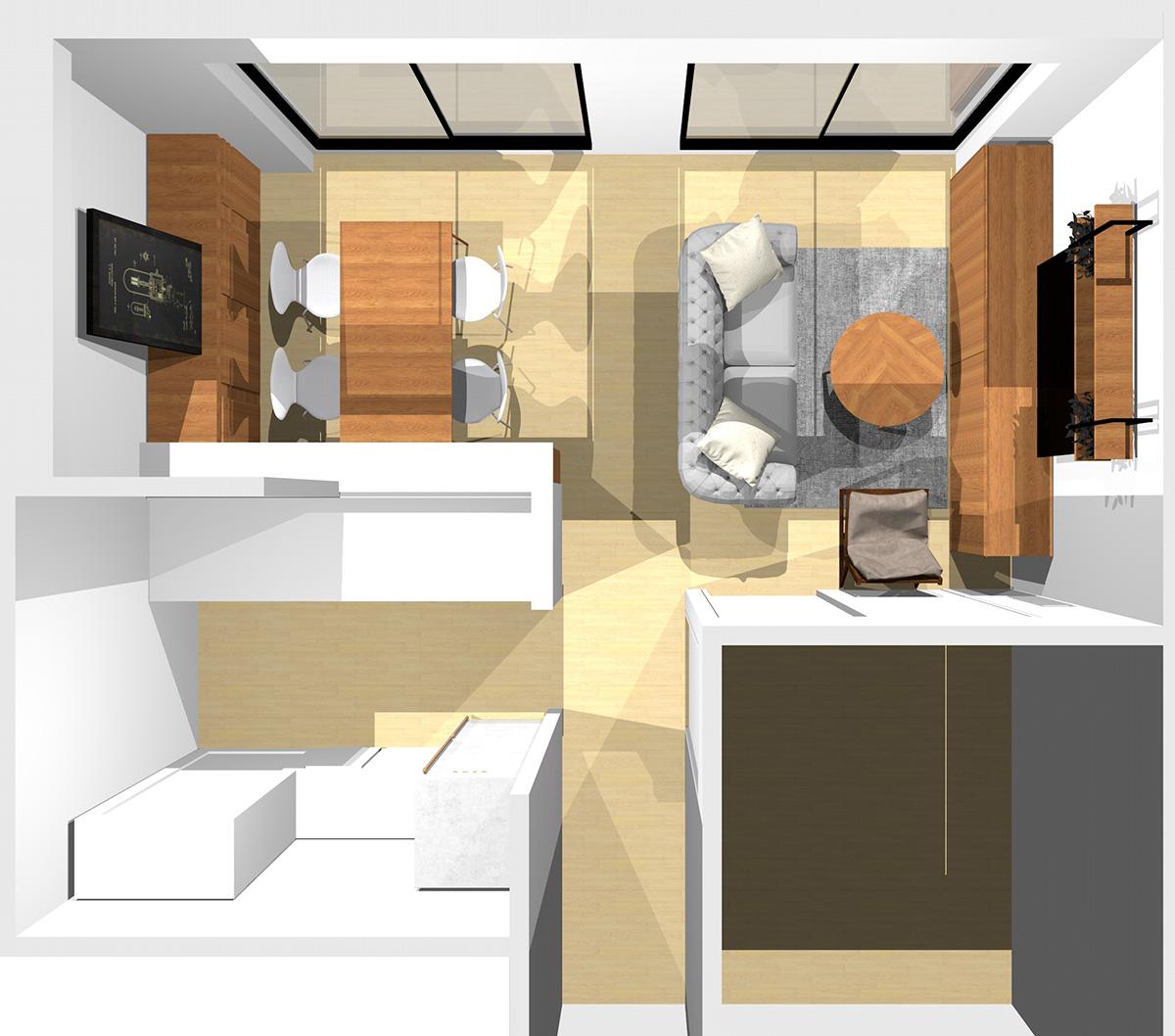 ①②③に家具、通路にコーナーソファ、④にラウンジチェアを置いた横長リビング