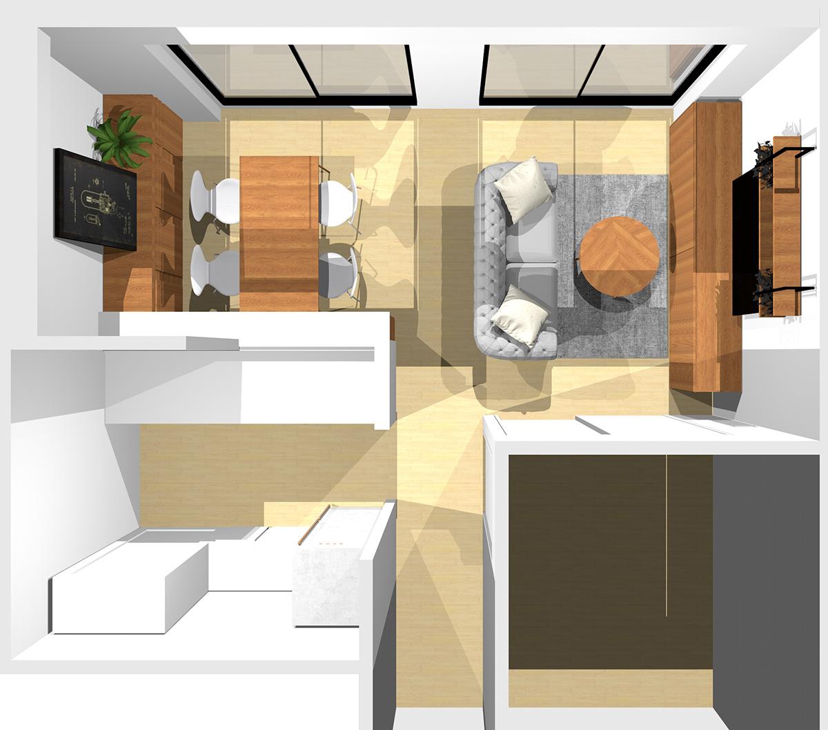 ①②③に家具、通路に2人掛けソファを置いた横長リビング