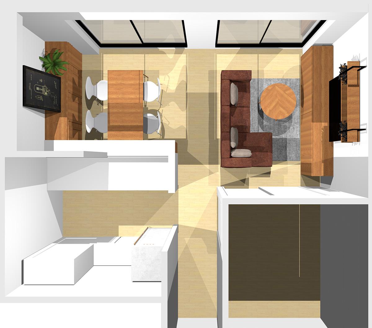 ①②③に家具、通路に寝椅子付きソファを置いた横長リビング
