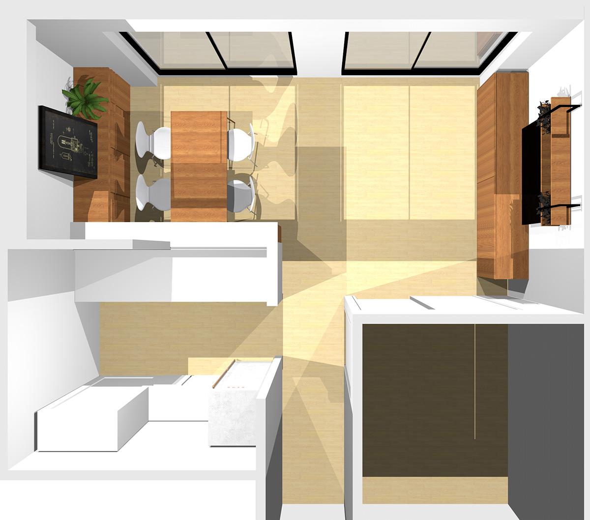 ①②③に家具を置いた横長リビング