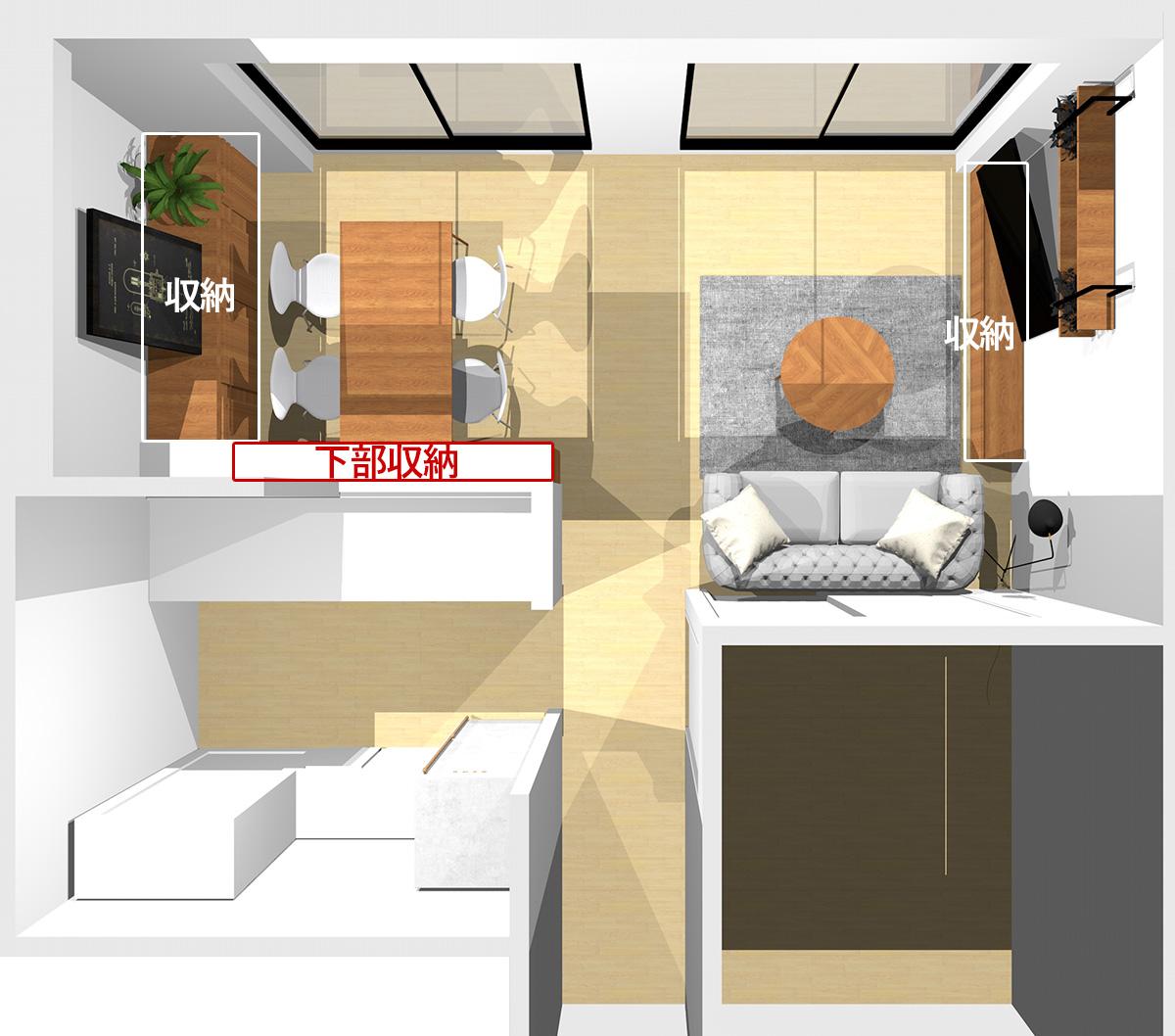 窓に向かってソファを置いた場合の横長リビングの収納の位置