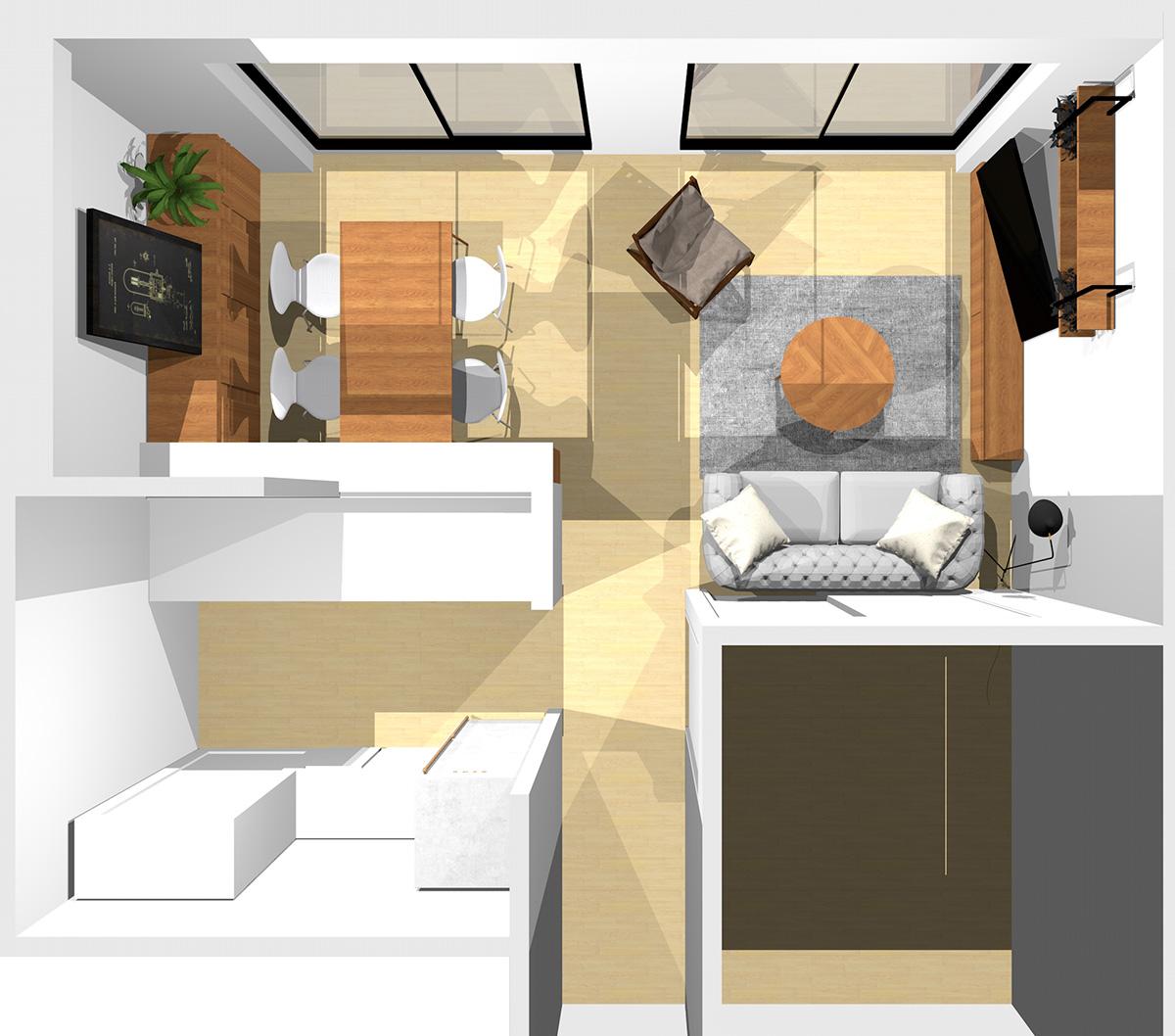 窓が見える位置にソファ、ソファに向かってラウンジチェアを置いた横長リビング