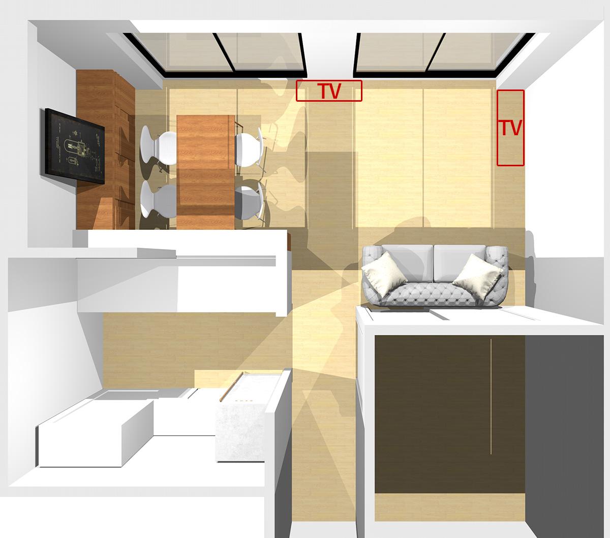横長リビングの窓が見える位置にソファを置いた場合のテレビの位置
