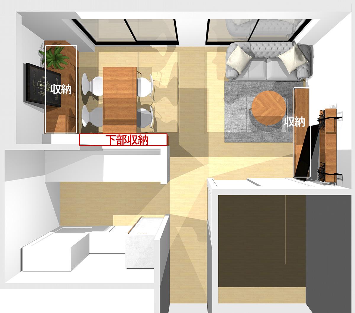 窓を背にソファを置いた横長リビングの収納の位置