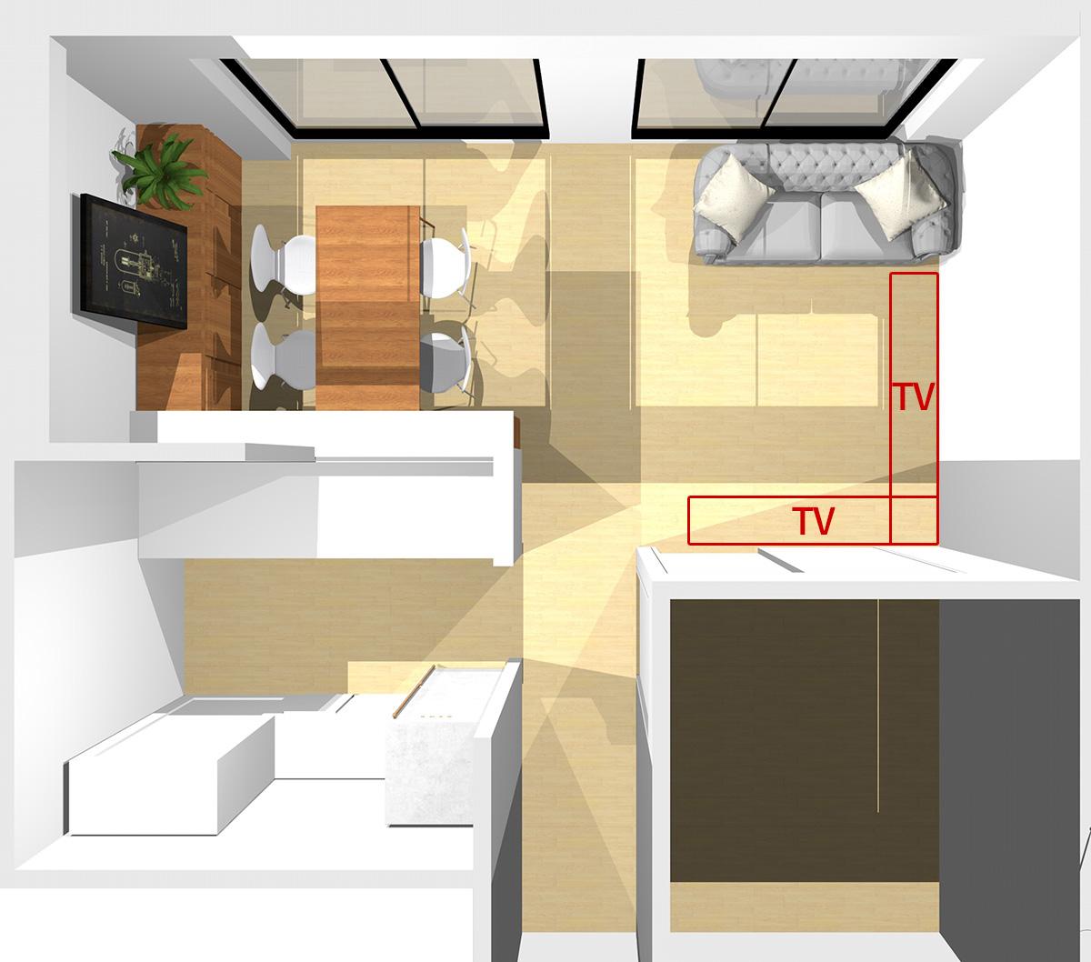 窓を背にソファを置いた場合のテレビの位置