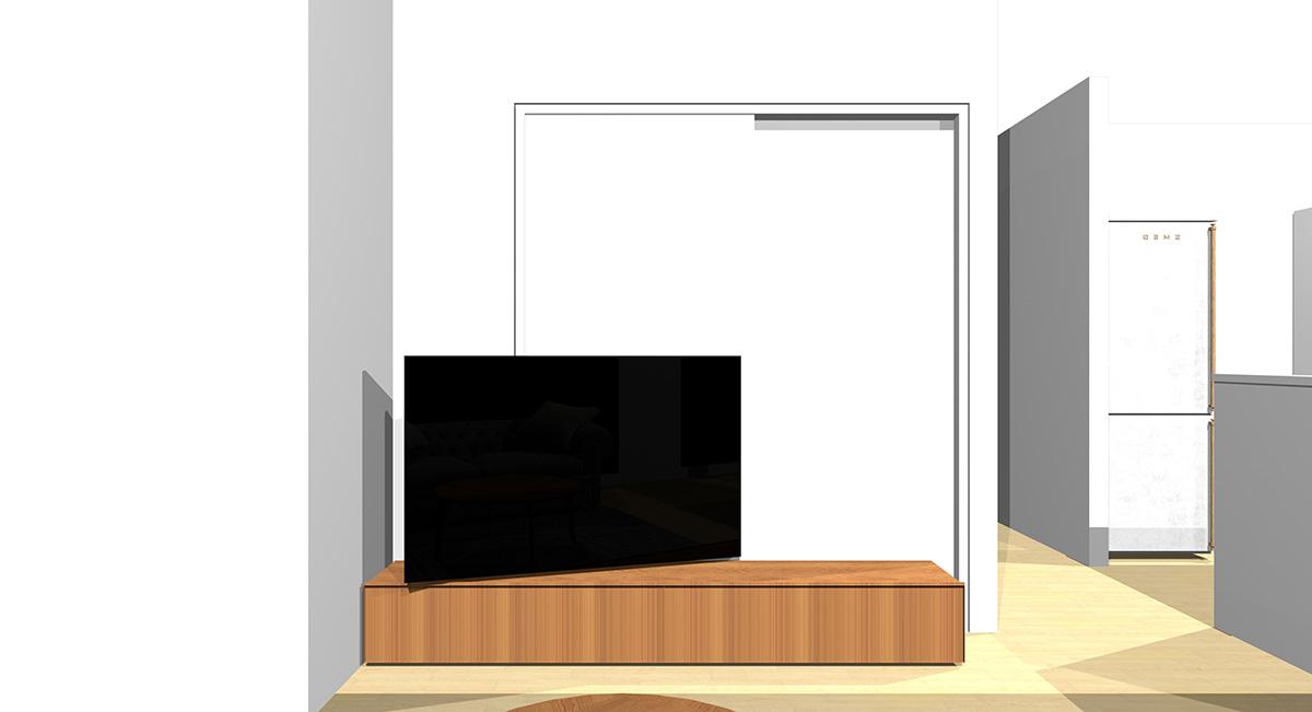 窓を背にソファを置き、正面の引き戸の前にテレビを置いた場合のソファからの見え方