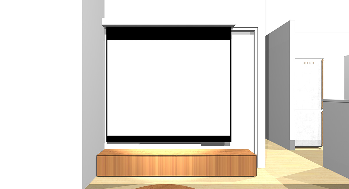 窓を背にソファを置き、正面の引き戸の前に大型スクリーンを置いた場合のソファからの見え方