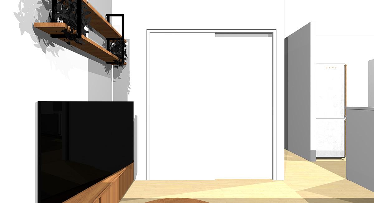 ソファから引き戸を眺めた図