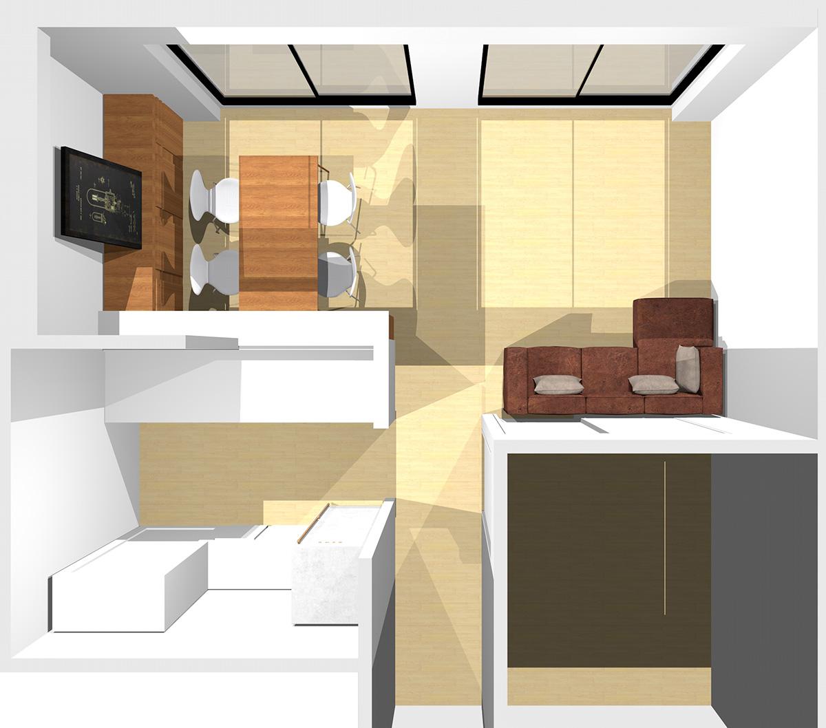 横長リビングの窓が見える位置に寝椅子付きソファ