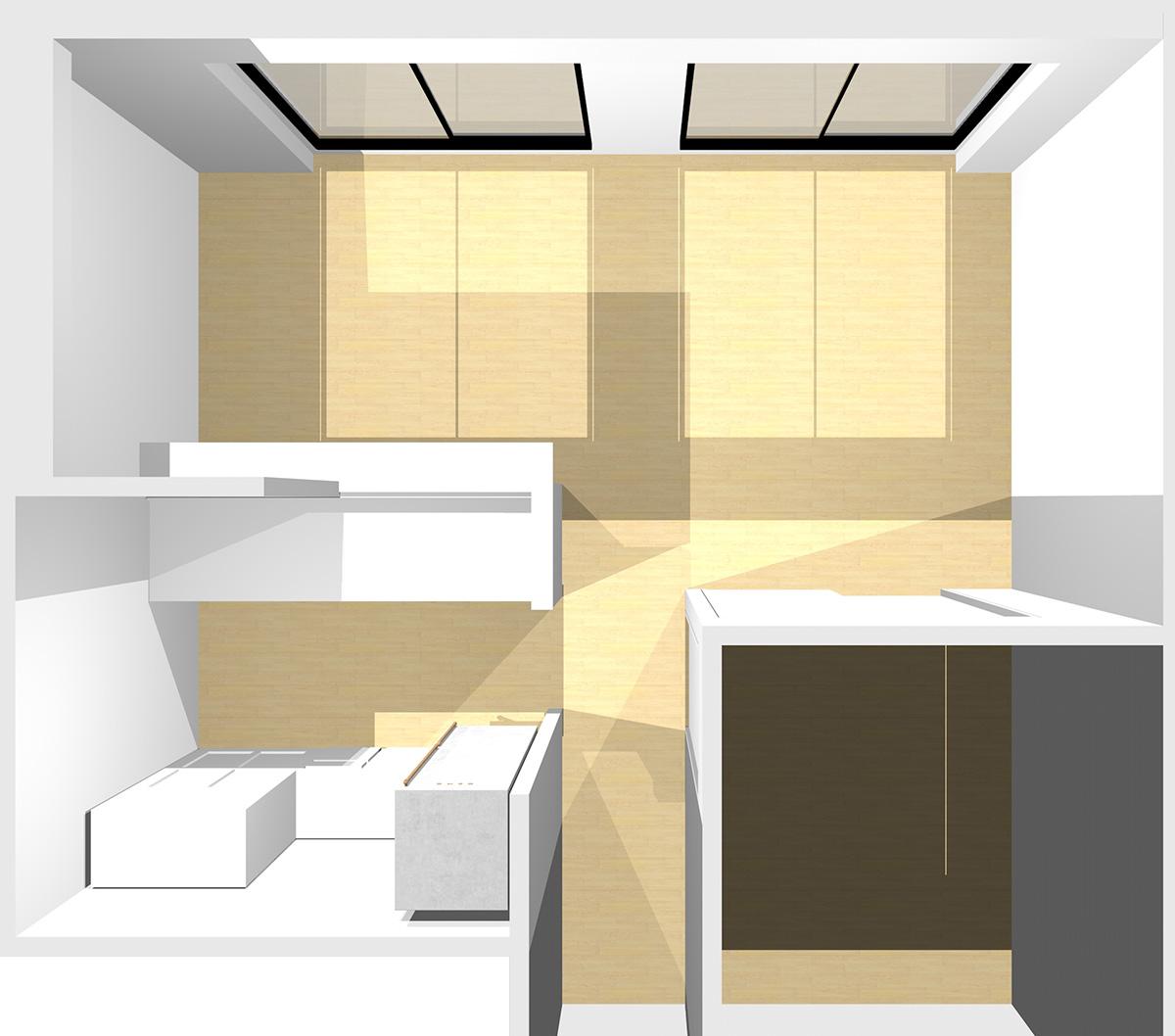 横長リビング(屋外からの光+室内照明)