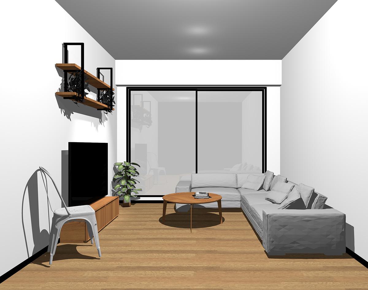 ブラックの窓とミディアムブラウンの床