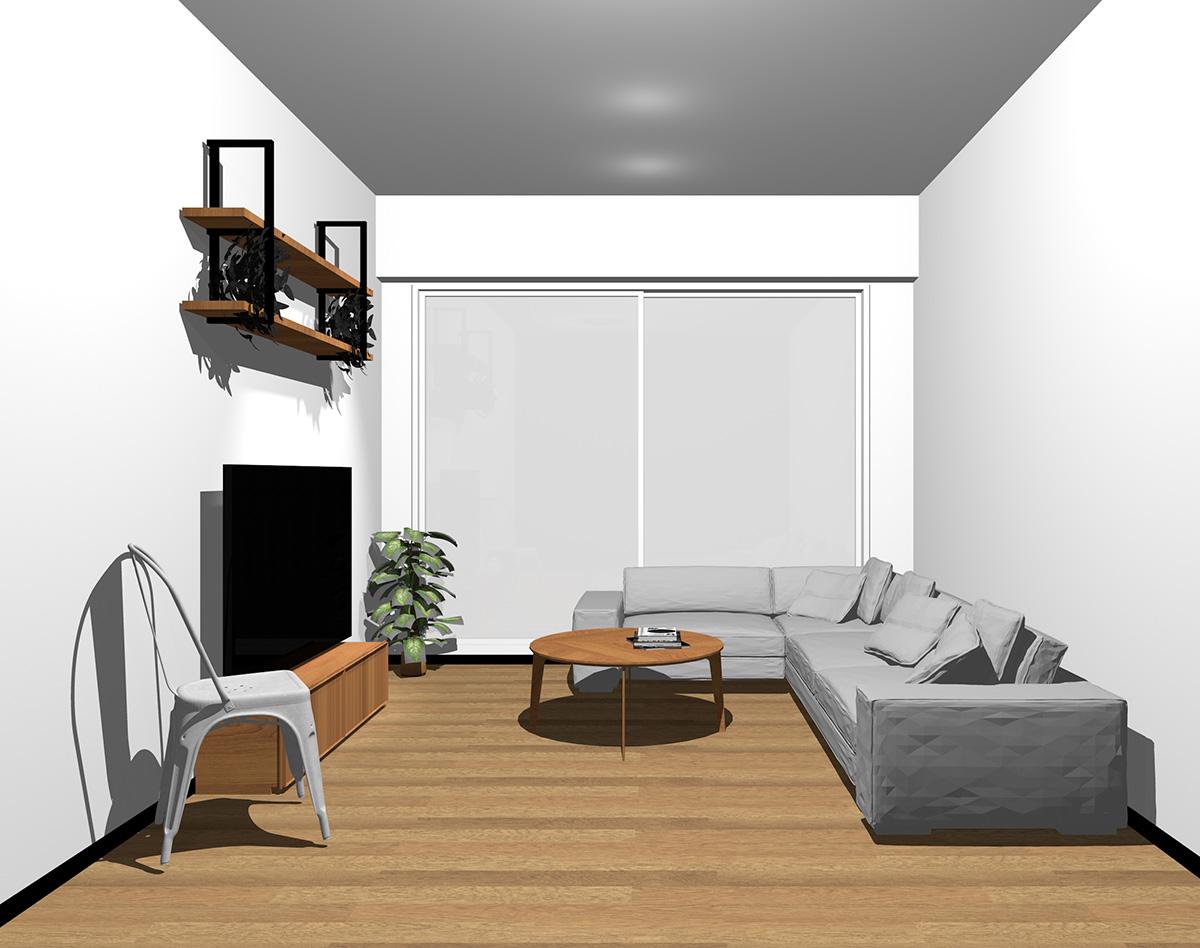 ホワイトの窓とミディアムブラウンの床