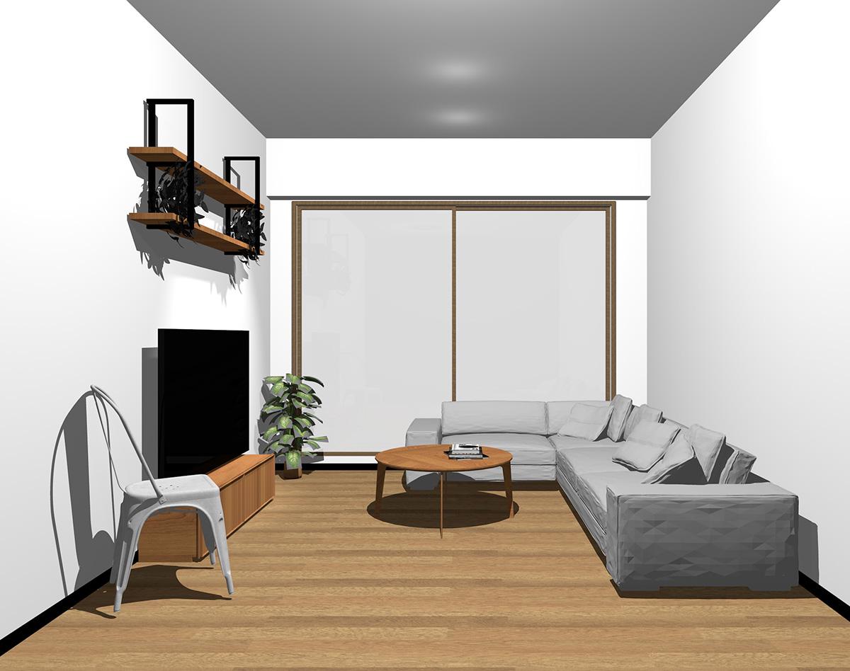 木目調・ブラウンの窓とミディアムブラウンの床