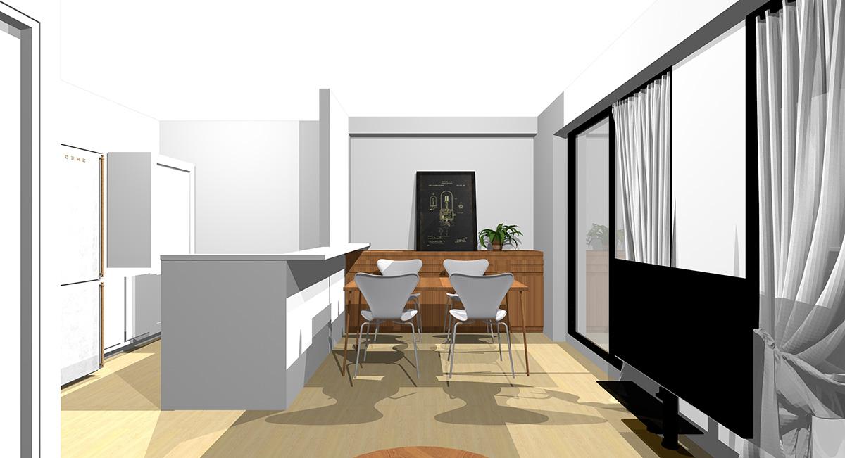 短い壁を背にソファと収納家具を置いた横長リビングのソファからの見え方