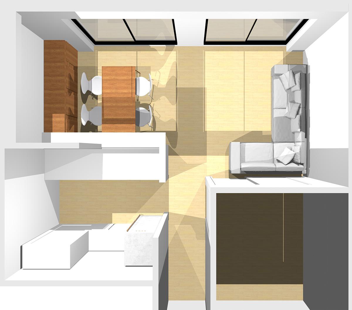 短い壁を背にコーナーソファと収納家具