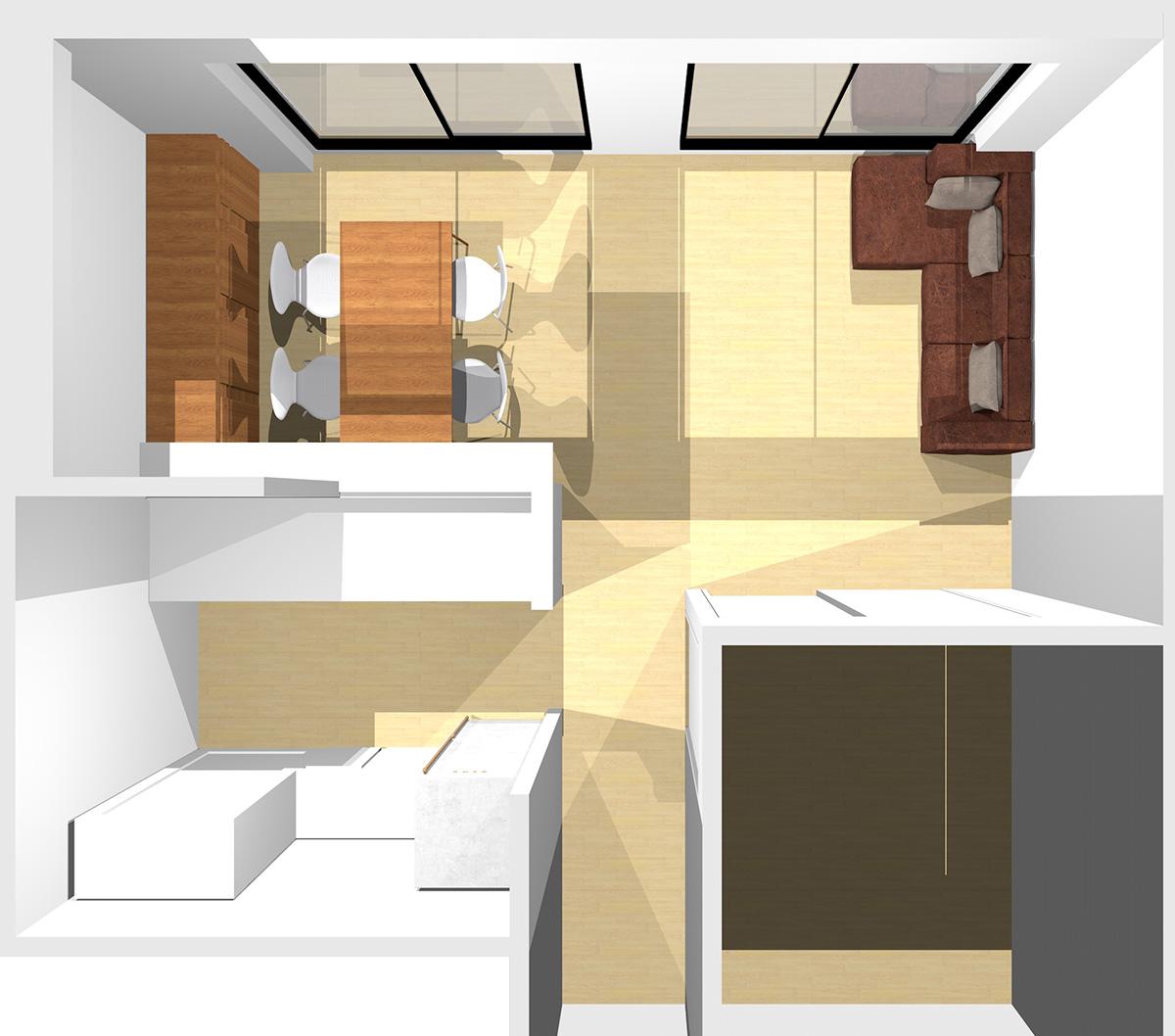 短い壁を背に寝椅子付きソファと収納家具