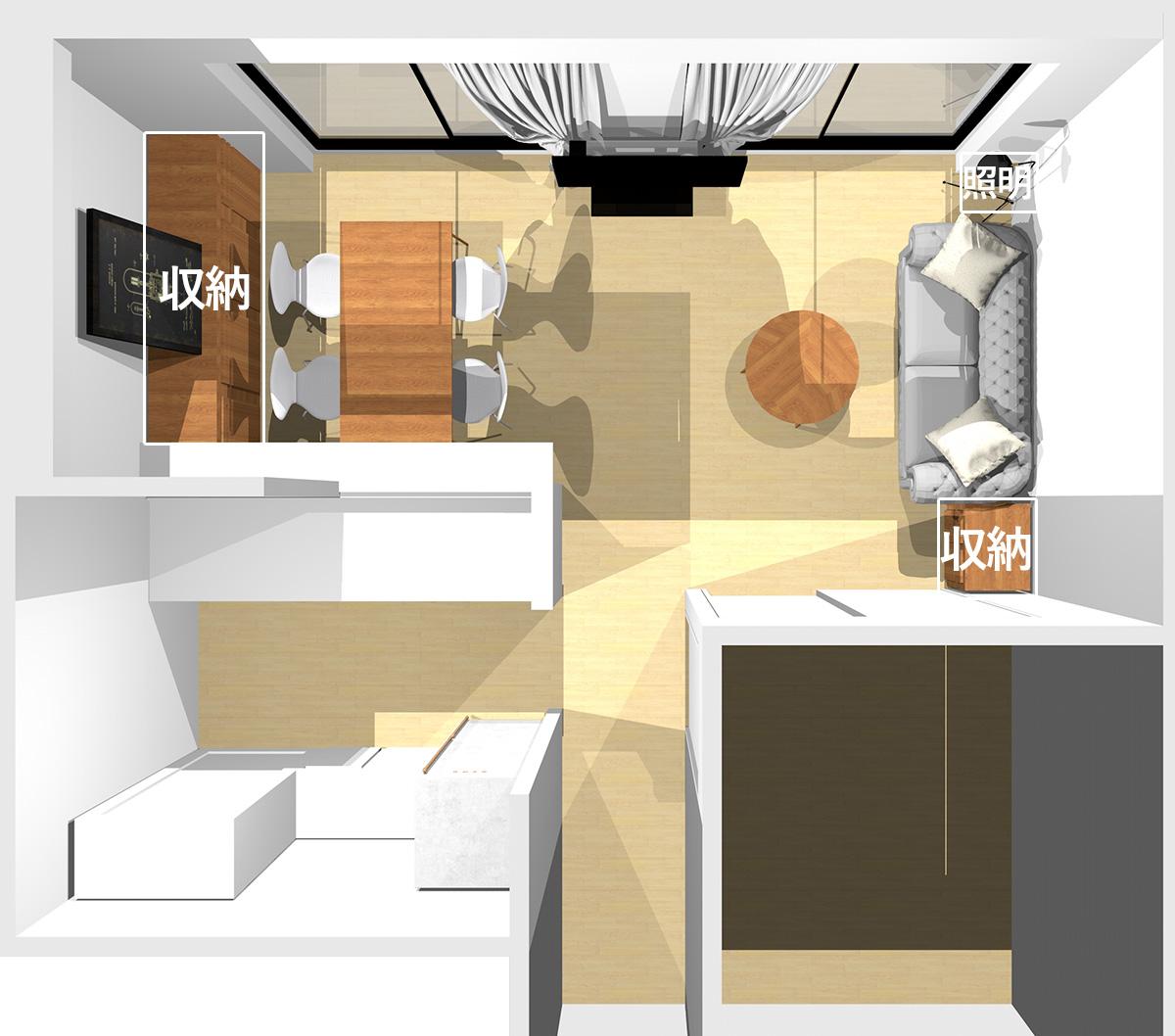 壁を背にソファを置いた横長リビングの収納家具の位置