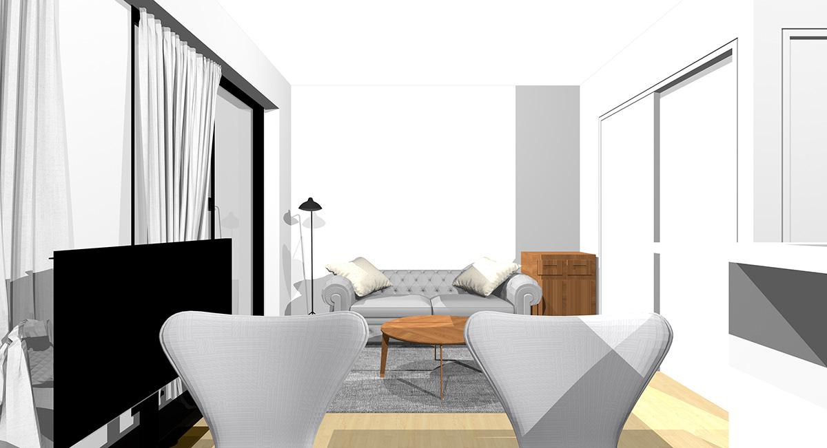 壁を背にソファを置いた横長リビングの収納家具の位置(ダイニングから)