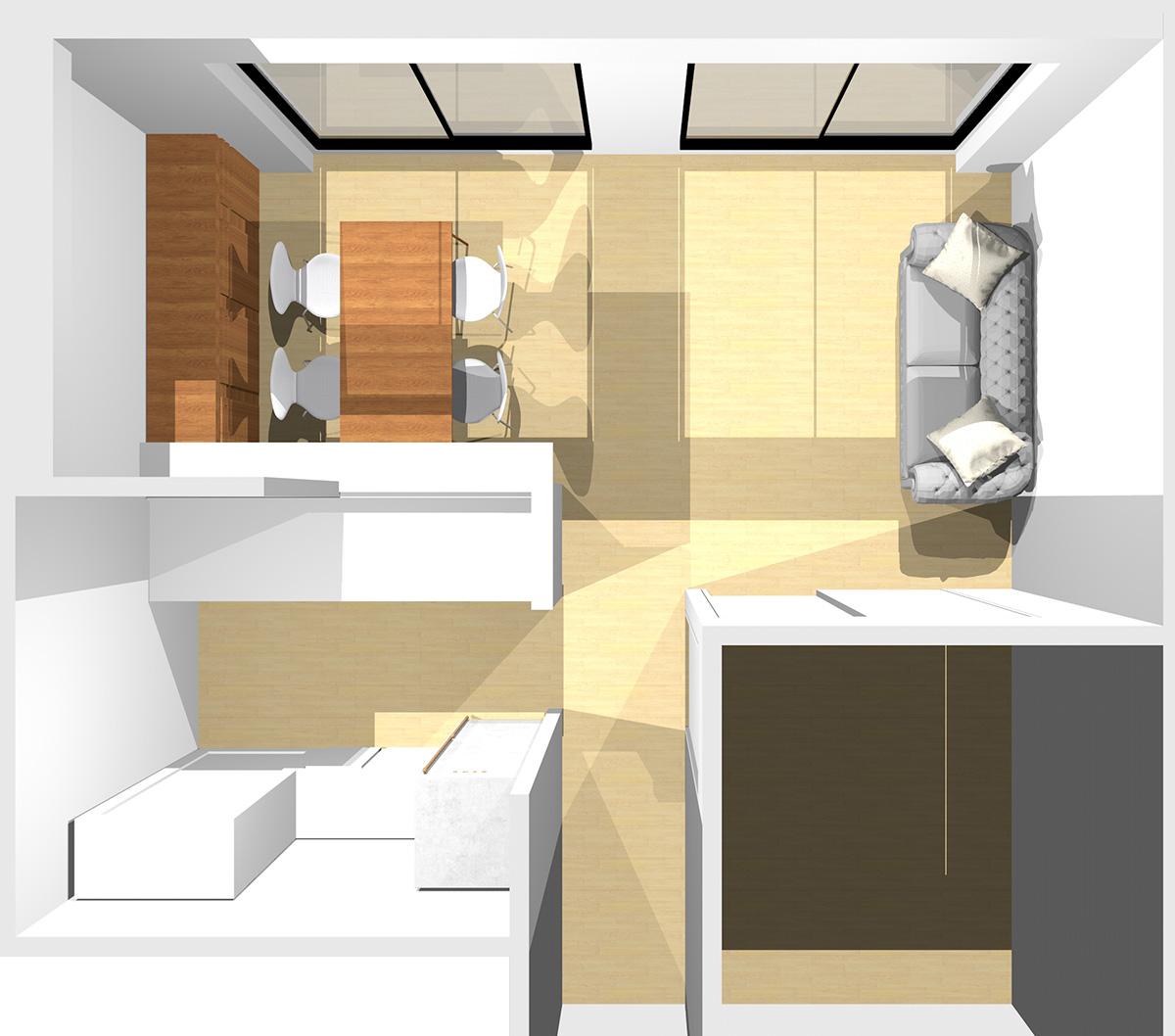 短い壁を背にI型ソファと収納家具