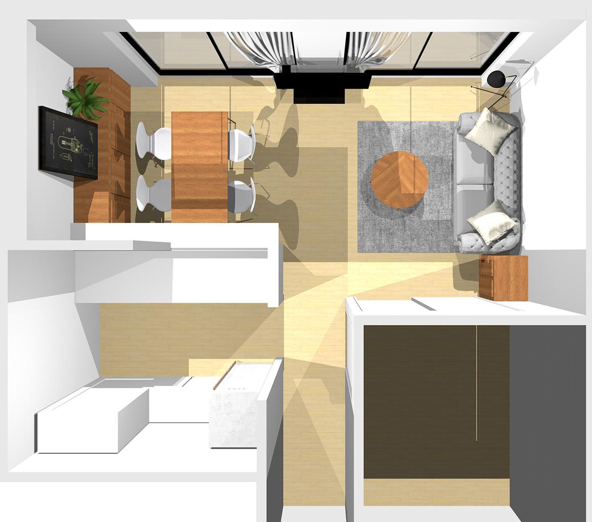 短い壁を背にソファと収納家具を置いた横長リビング