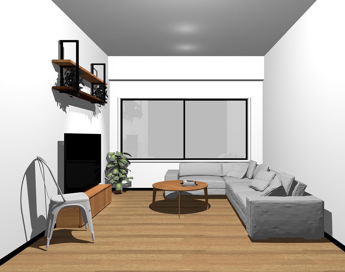 ホワイトの窓枠とブラックの内観色の窓の組み合わせ