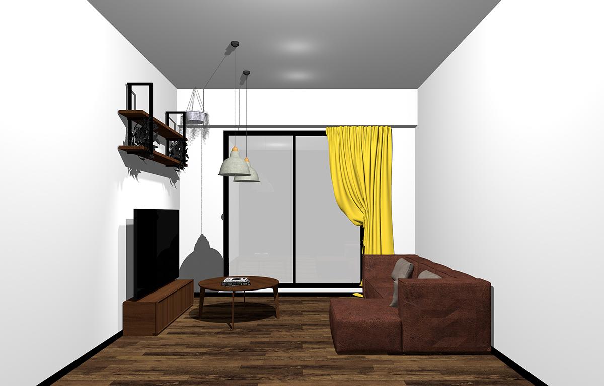 掃き出し窓(テラス窓)があるリビングに窓とL字に寝椅子付きソファ