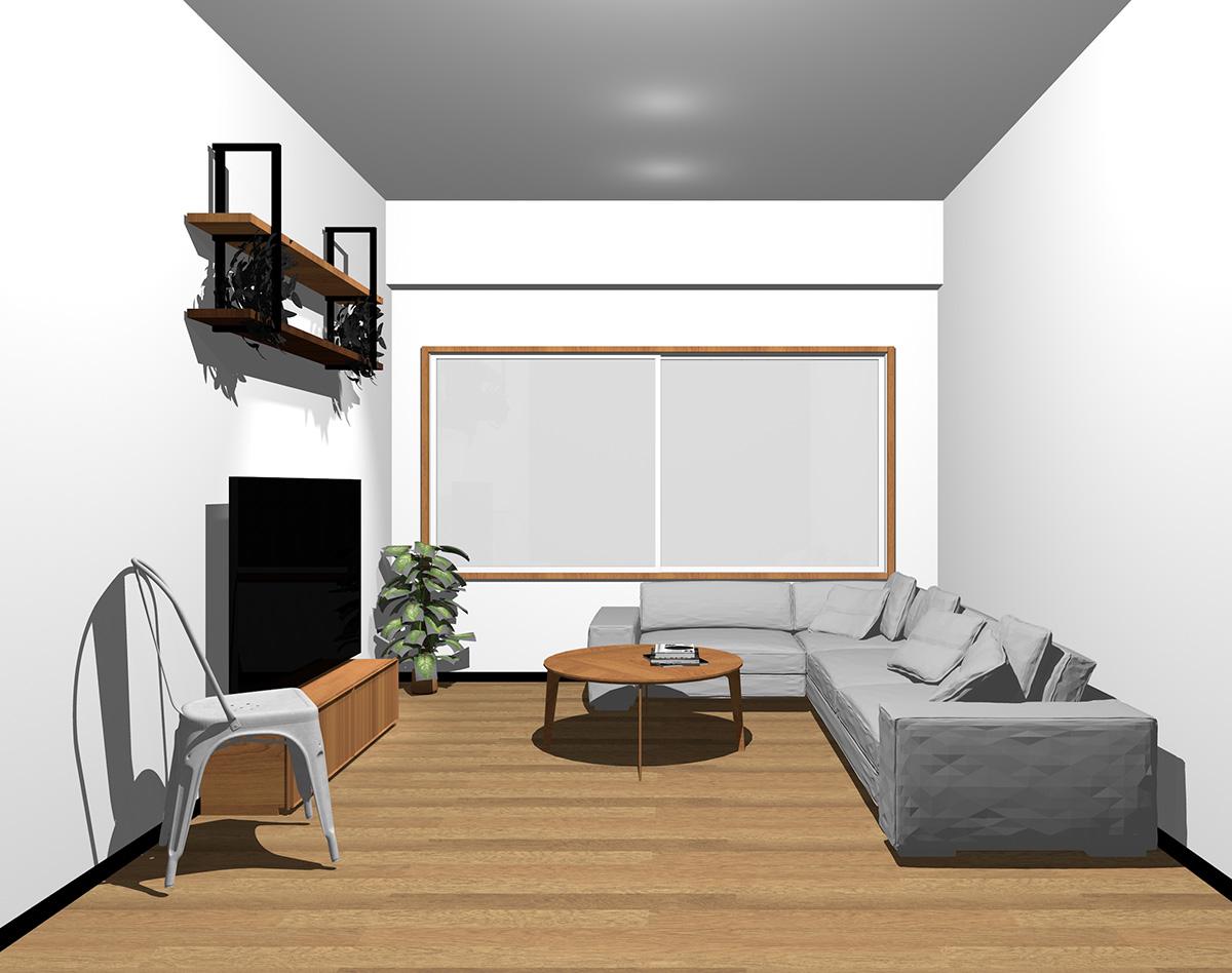 中間色の茶色の木目の窓枠とホワイトの内観色の窓の組み合わせ