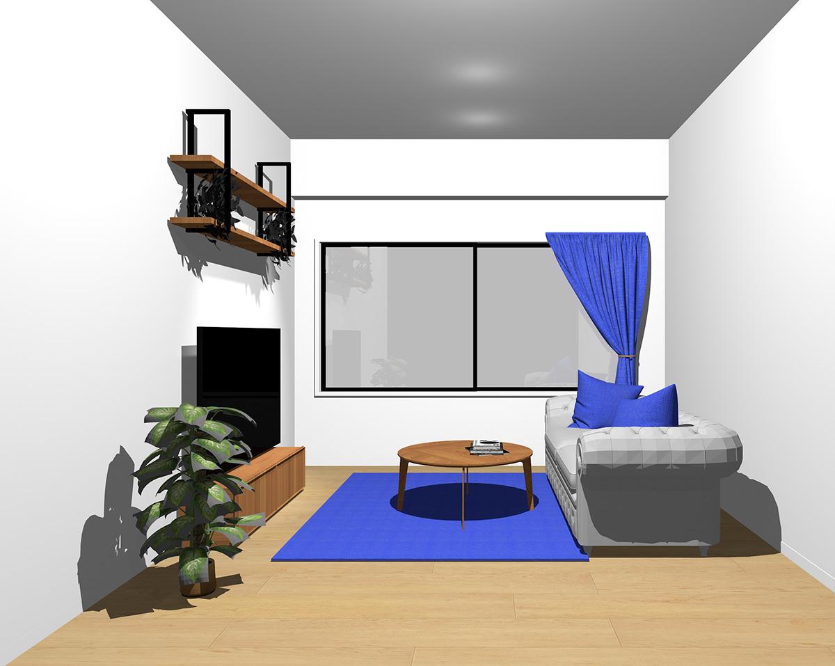 鮮やかなブルーのラグ・クッション・カーテンの部屋