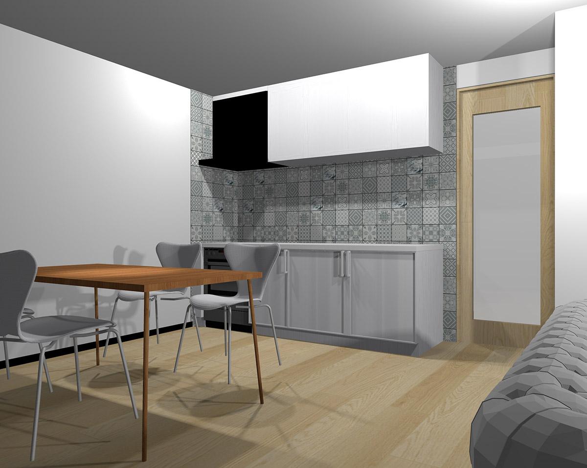 壁面を幾何学模様のタイルにしたキッチン