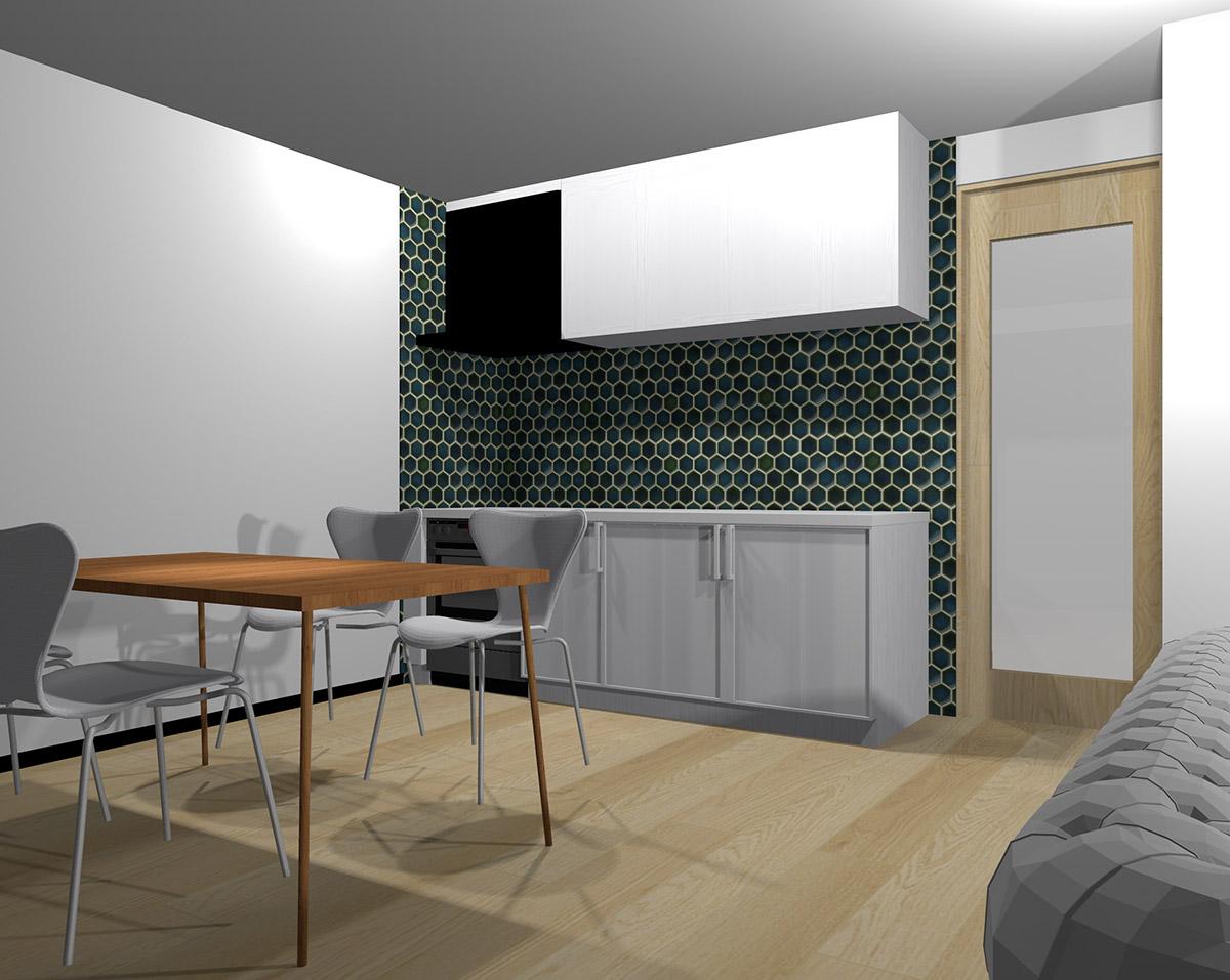 壁面を暗い緑の六角形タイルにしたキッチン