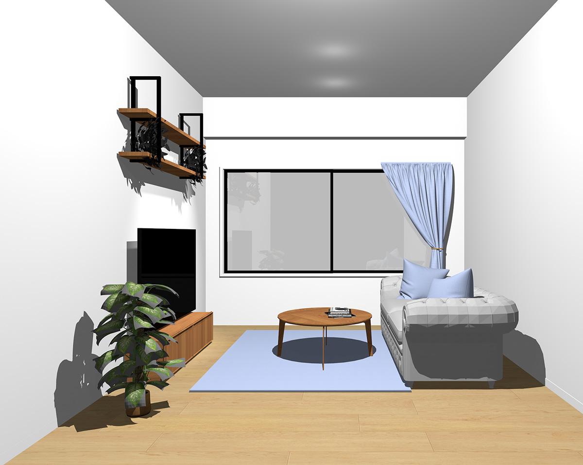 水色のラグ・クッション・カーテンの部屋
