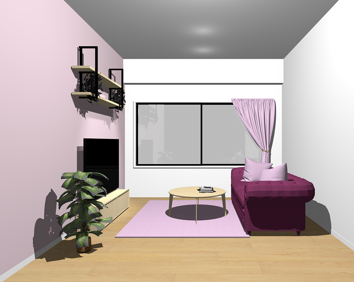 紫っぽいピンクのインテリア