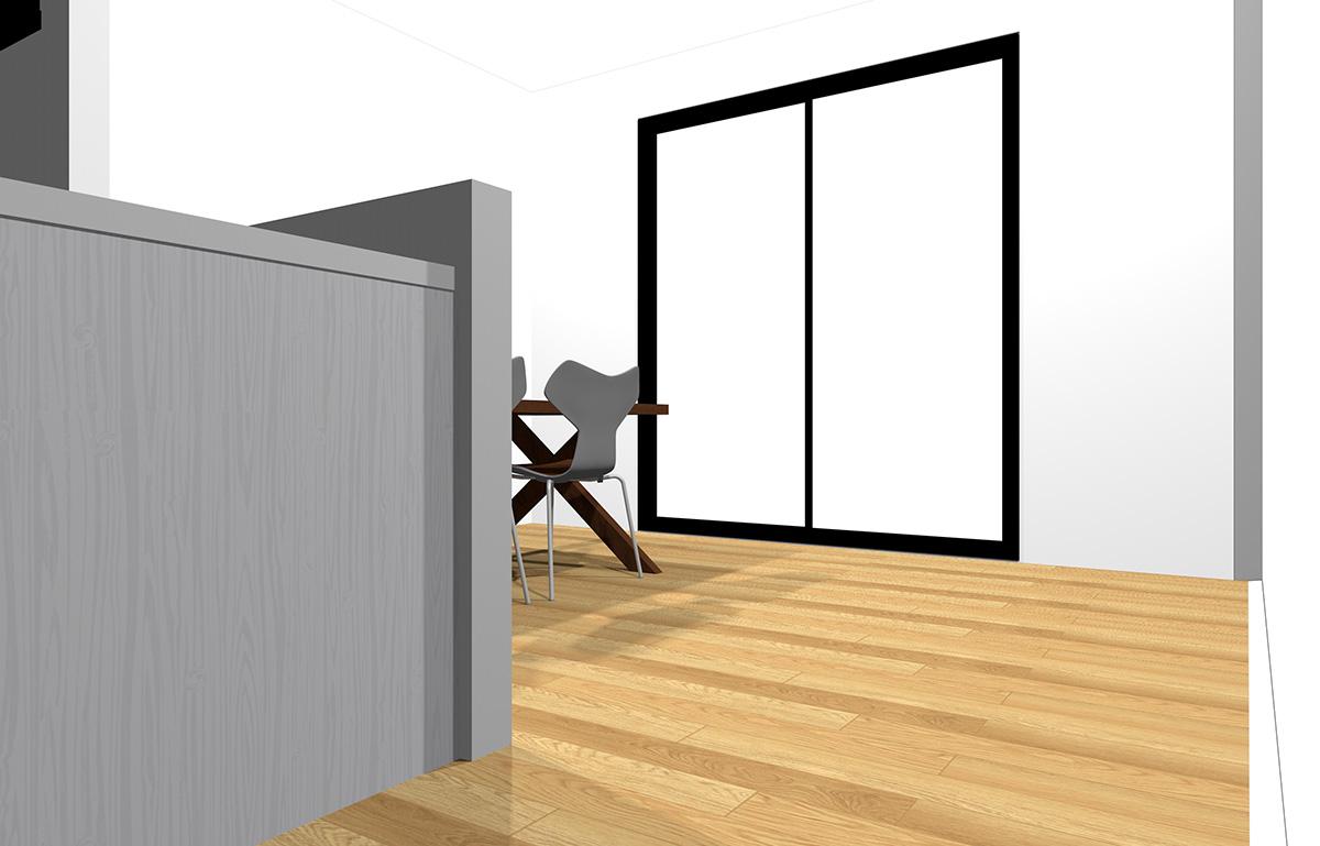 対面壁にテーブルを密着させて配置したダイニングのパース