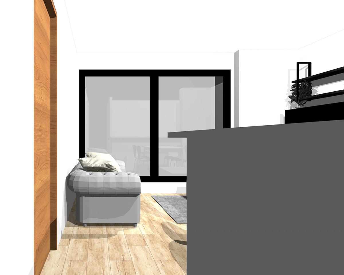 キッチン3.6畳、リビングダイニング8畳の縦長リビングの窓側にリビング(通路から)