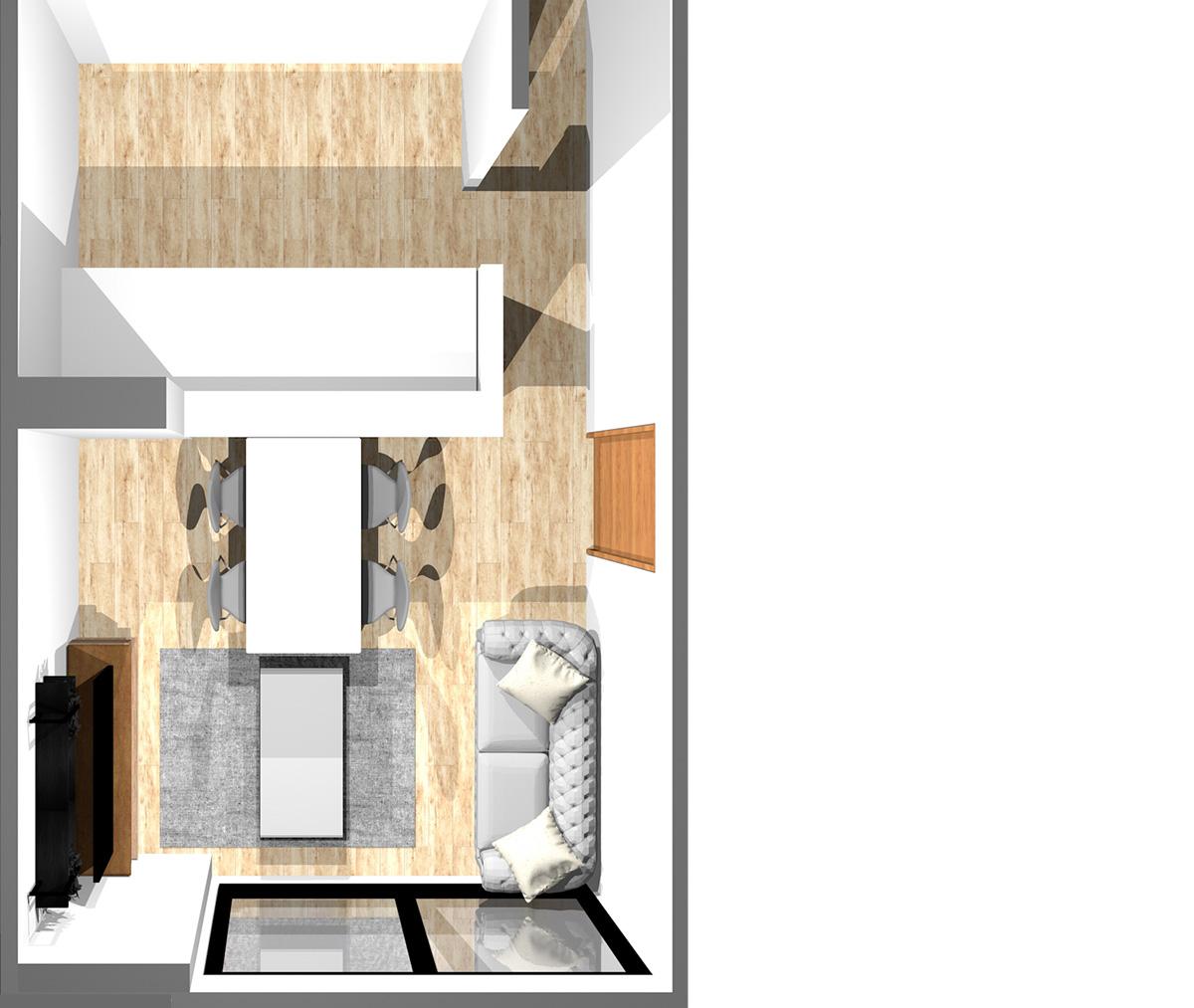 キッチン3.6畳、リビングダイニング8畳の縦長リビングの窓側にリビング