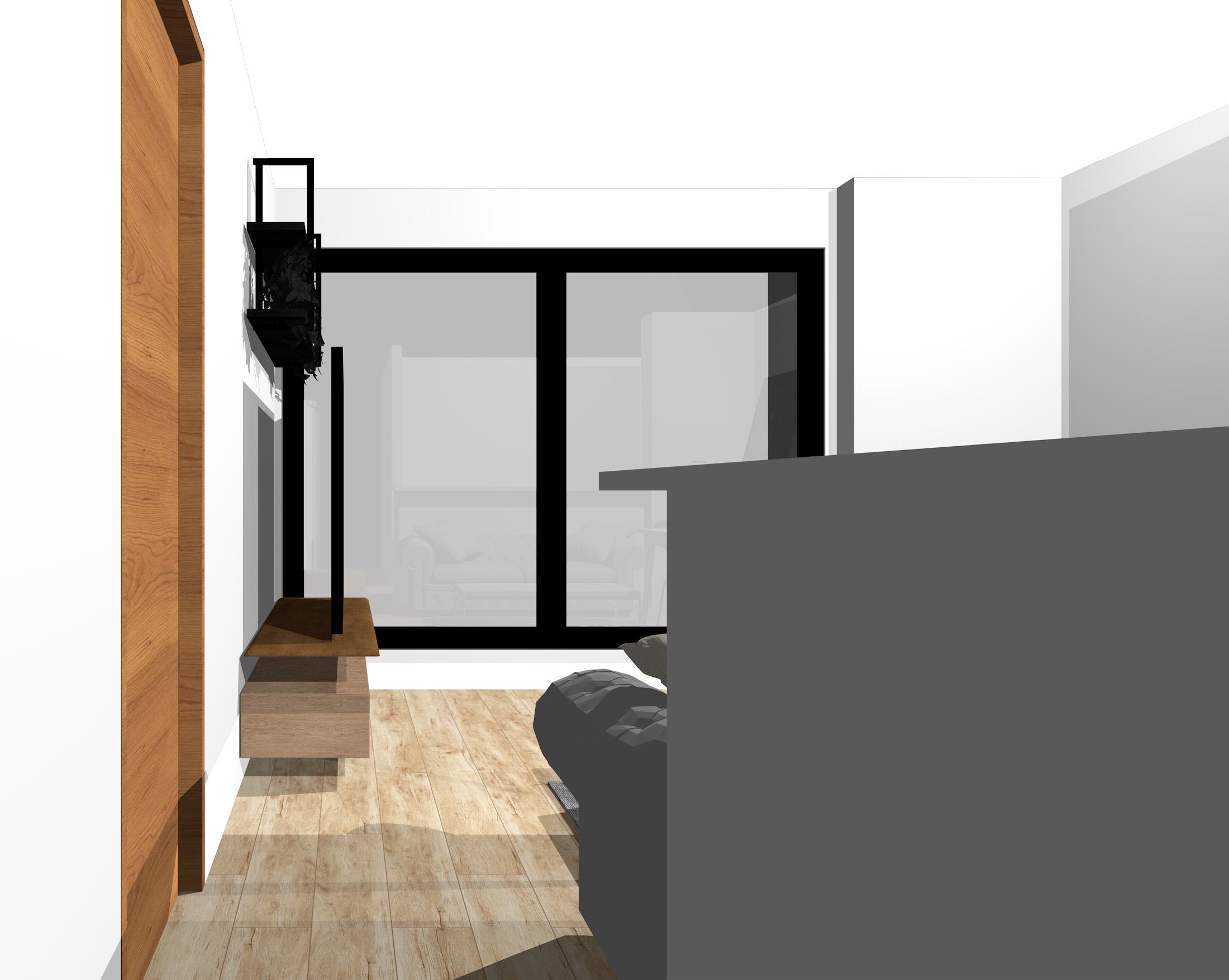 キッチン3.6畳、リビングダイニング8畳の縦長リビングの窓側にダイニング(通路から)