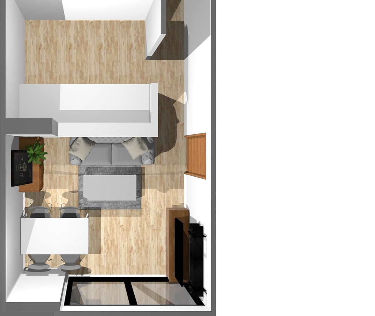 キッチン3.6畳、リビングダイニング8畳の縦長リビング