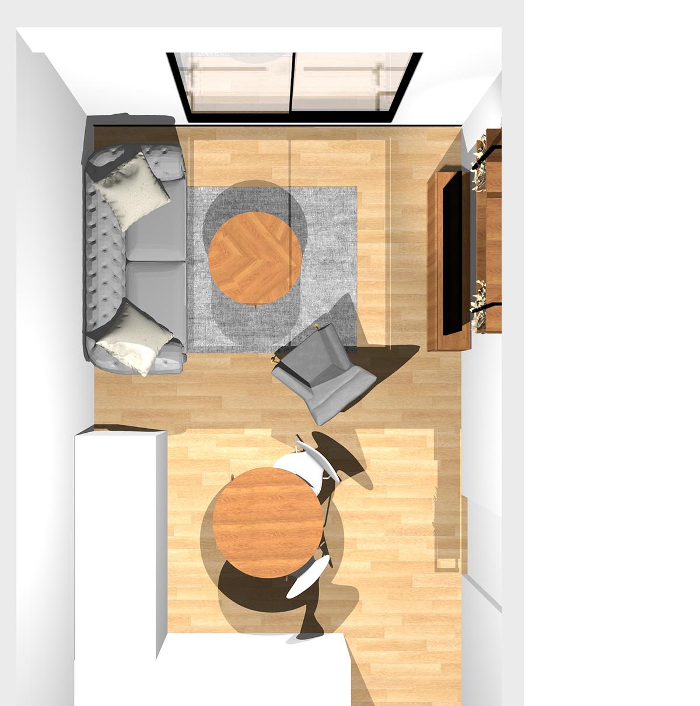 ペールトーン配色で個性を演出したエレガントなリビングダイニング(壁付けL型キッチン)のパース
